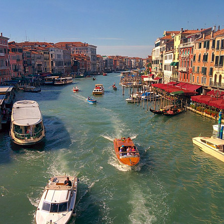 Traffic on the Grand Canal in Venice.