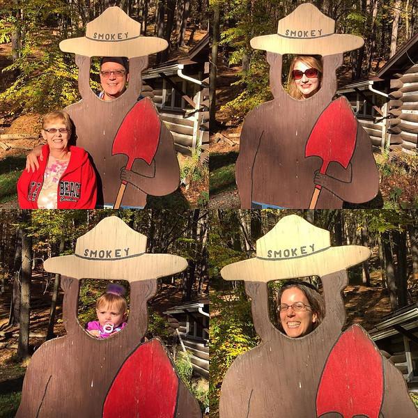 Goofing around as Smokey Bear, Clear Creek State Park, Pennsylvania
