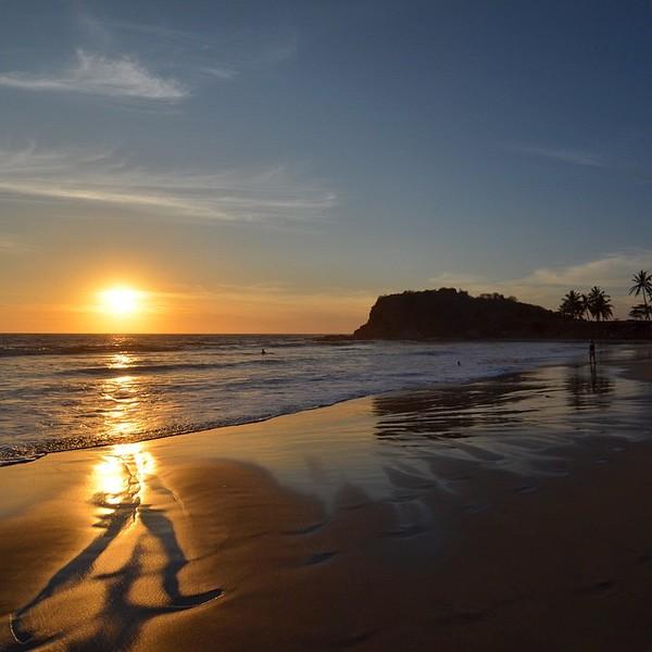 Sunset over the beach, in Mazatlan, Mexico
