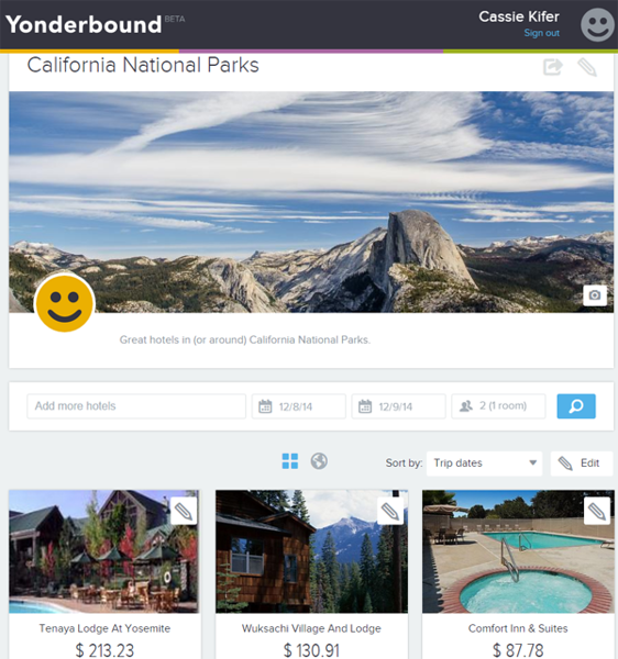 Booking hotels using Yonderbound: My California National Parks List