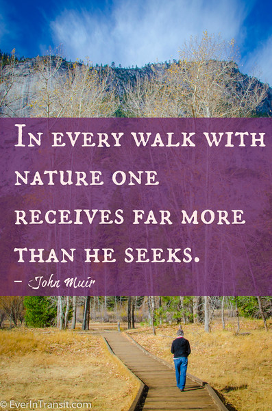 """In every walk with nature one receives far more than he seeks"" -- John Muir quotes"